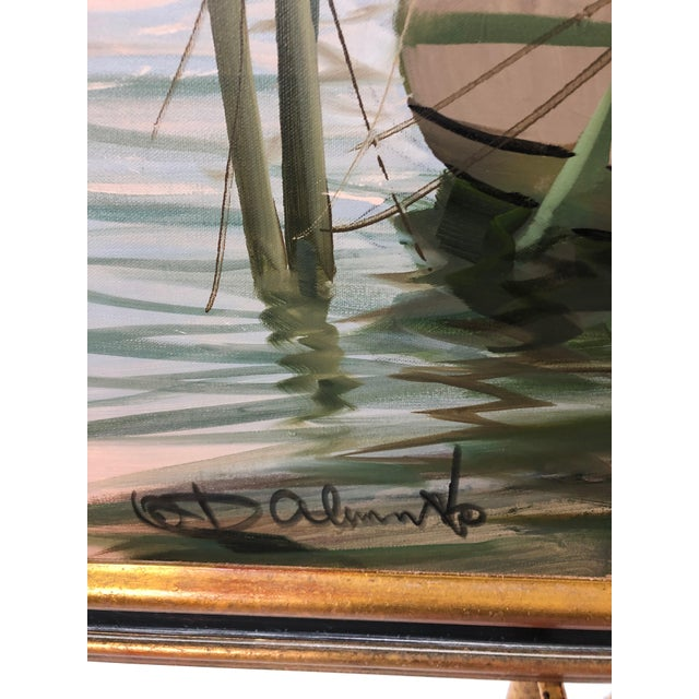 White Modern Big Bold Canvas Painting of Harbor Sailboats For Sale - Image 8 of 10