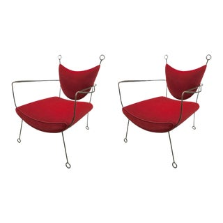 Jean Royère Documented Pair of Black Wrought Iron Lounge Chairs Model Yo-Yo For Sale