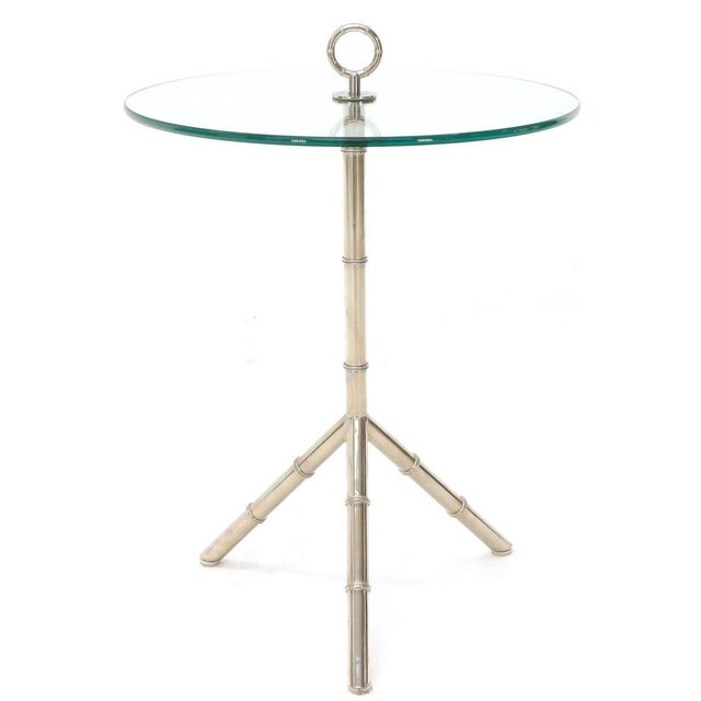 Circular Glass Top Heavy Solid Nickel-Plated Accent Side Center Occasional Table For Sale - Image 12 of 13