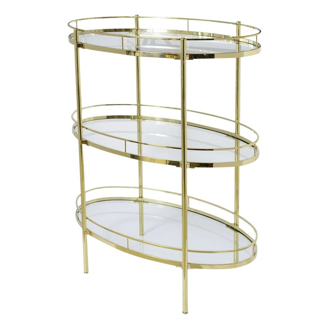 Brass Three Tier Bar/Etagere Midcentury Signed Maxwell-Phillips Oval For Sale