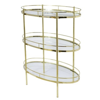 Signed Midcentury Maxwell-Phillips Oval Brass Three Tier Bar/Etagere For Sale