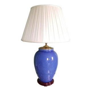 Vintage Cobalt Blue Crackle Glaze Table Lamp
