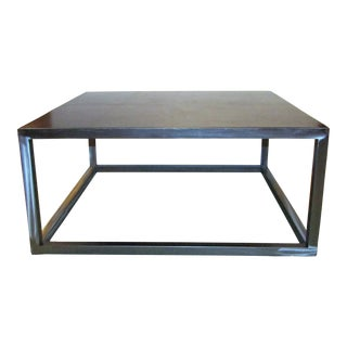 Contemporary Leather Topped Brushed Chrome Coffee Table For Sale