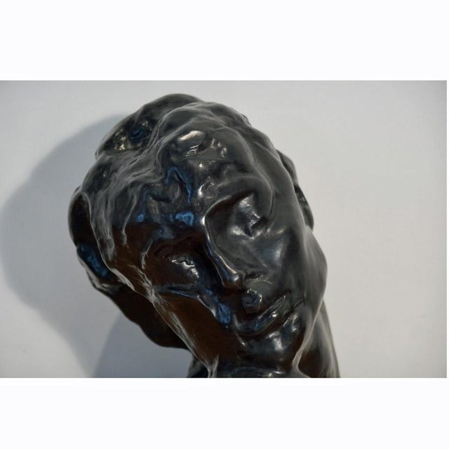 "1970s Figurative Bronze Sculpture Bust ""Head of Lust"" by A.Rodin For Sale - Image 9 of 10"