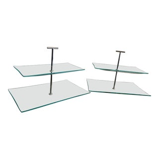Contemporary Two Tiered Glass Serving Trays - a Pair For Sale