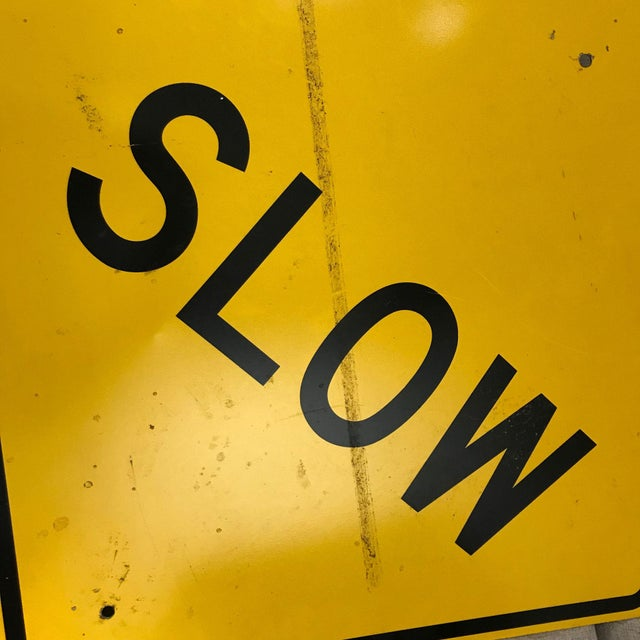 Vintage Reflective Slow Traffic Caution Construction Sign For Sale In New York - Image 6 of 8