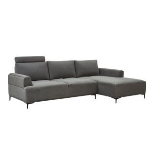 Pasargad Home Modern Lucca Sectional Sofa With Push Back Functional, Dark Grey-Right Facing For Sale