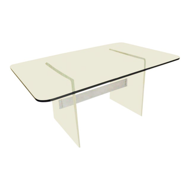 Mid Century Modern 3/4 Thick Glass Top Lucite Base Conference Dining Table For Sale