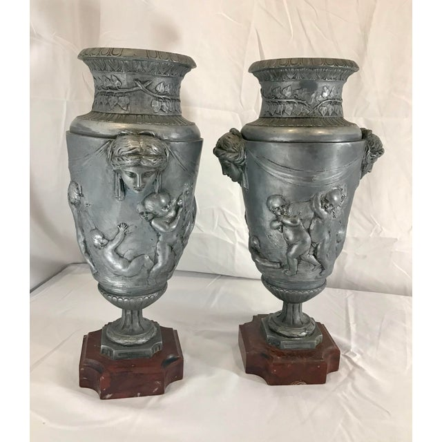 French 19th Century French Neoclassical Pewter on Marble Urns - a Pair For Sale - Image 3 of 13