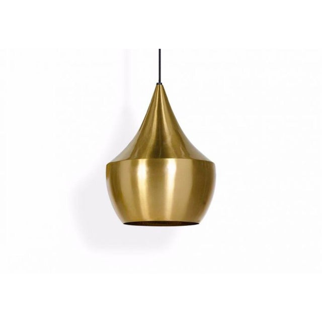 T. Dixon Brass Gold Beat Pendant Lights - A Pair - Image 5 of 5