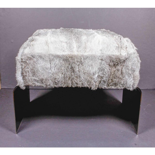 Metal Bespoke Luxury Ottoman or Stool in Lapin Fur and Black Chrome For Sale - Image 7 of 10