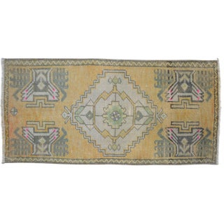 Distressed Low Pile Rug Turkish Yastik Accent Rug Faded Mat - 19'' X 33'' For Sale
