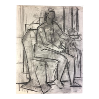 1950's Cubist Charcoal Female Nude Henry Woon Bay Area Artist For Sale