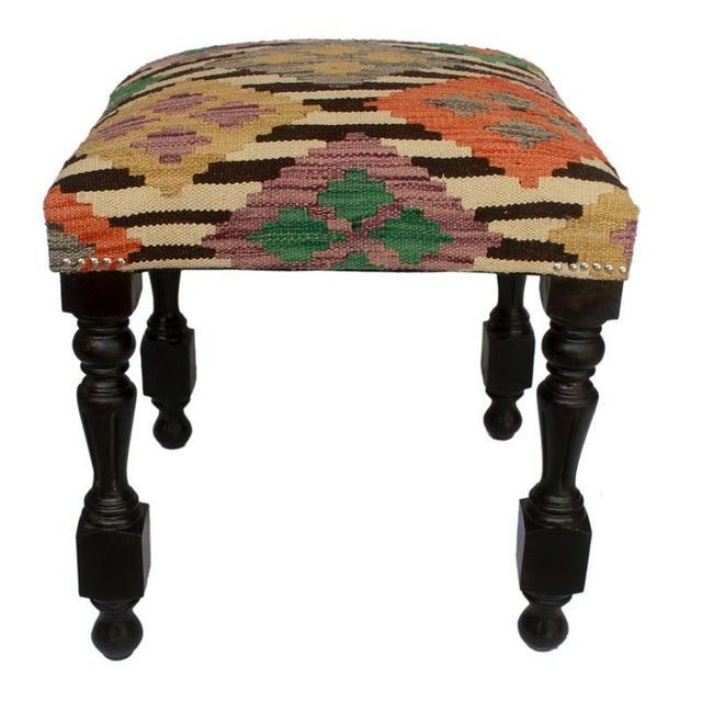 Asian Arshs Dora Chocolate/Ivory Kilim Upholstered Handmade Ottoman For Sale - Image 3 of 8