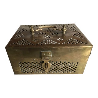 Antique Brass Jewelry Box For Sale