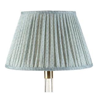 Fermoie Gathered Linen Lampshade in Blue Figured, 16 Inch For Sale