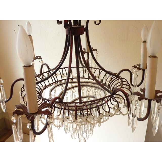 French Tole & Crystal Chandelier For Sale In Boston - Image 6 of 11