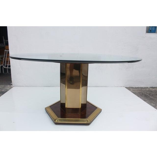 Mastercraft Vintage Burl Wood & Brass Dining Table For Sale - Image 7 of 11
