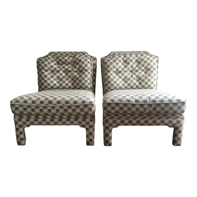 Contemporary Upholstered Slipper Chairs - A Pair For Sale