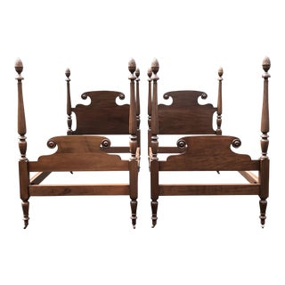 Antique Solid Mahogany Pineapple Top Twin Beds- a Pair For Sale