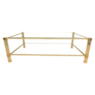 Pierre Vandel Mid-Century Modern Brass and Glass Coffee Table For Sale