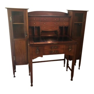 English Arts & Crafts Ladies Secretary Bookcase For Sale