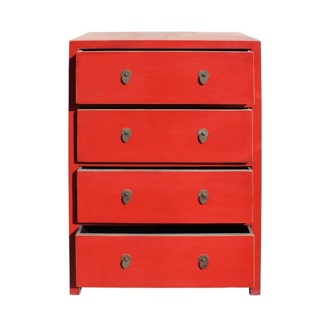 Chinese Distressed Red 4 Drawer Storage Dresser For Sale - Image 4 of 5