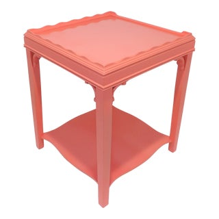 Vintage Mid-Century Modern Coral Pink Night Stand / End Table