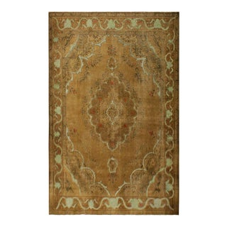 Vintage Distressed Overdyed Rubi Tan/Lt. Brown Wool Rug - 10'1 X 12'9 For Sale
