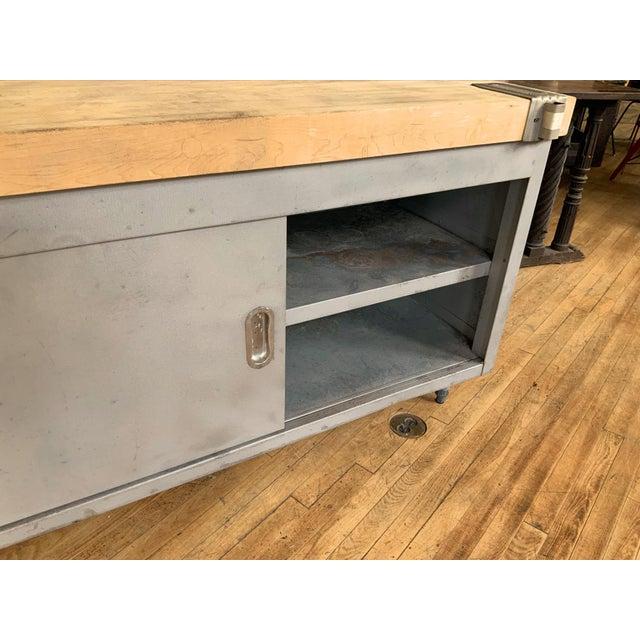 Metal Vintage Industrial Steel Cabinet With Butcher Block Top For Sale - Image 7 of 10