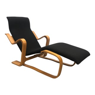 Marcel Breuer Bent Wood Mid Century Modern Black Lounge Chair For Sale