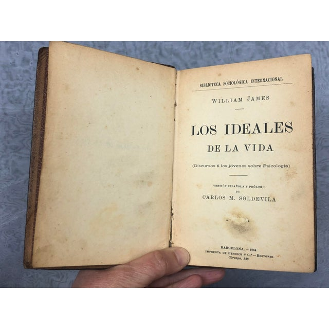 Antique Leather Bound Spanish Books - Set of 8 For Sale - Image 12 of 13