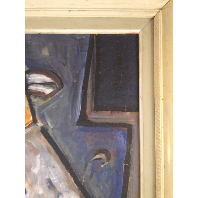 Mid 20th Century Vintage Mid-Century Cubist Inspired Figural Portrait Painting For Sale - Image 5 of 7