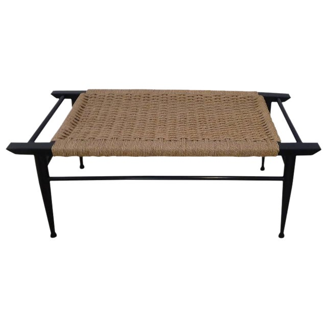 Terrific Mid Century Modern Danish Woven Rush Bench Inzonedesignstudio Interior Chair Design Inzonedesignstudiocom