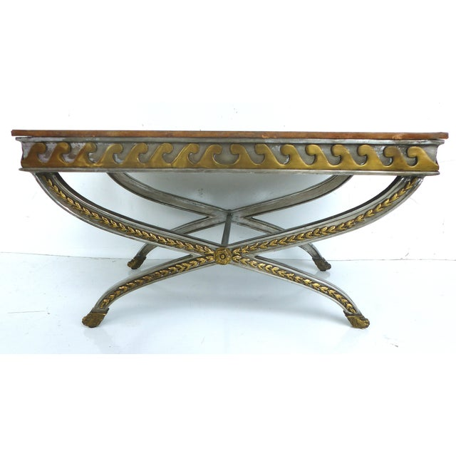 Stainless, Brass & Leather Coffee Table - Image 3 of 11