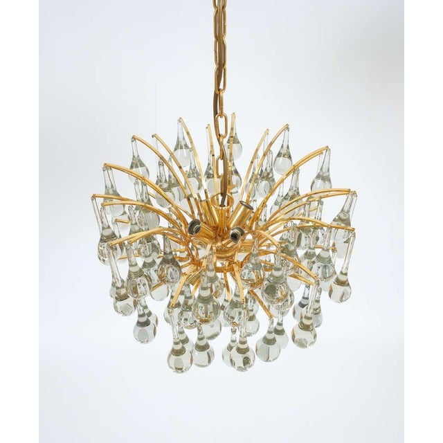 Brass Delicate Murano Glass and gilded Brass Tear Drop Chandelier, 1970 For Sale - Image 7 of 8