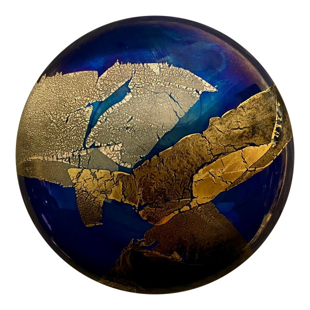 1980s Vintage Abstract Iridescent Art Studio Glass Paper Weight, Signed For Sale