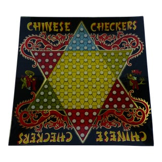Chinese Checkers Decoupage Glass Serving Tray - Two's Company For Sale