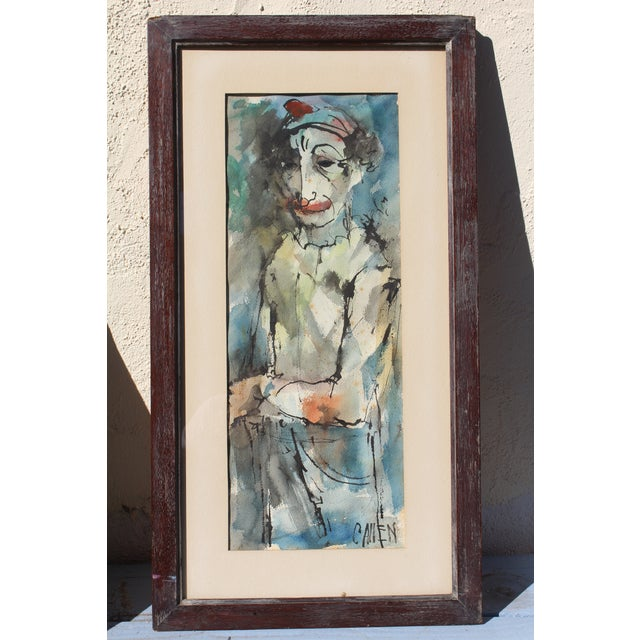 """Mid-Century Modern """"Instinctively Signed"""" Clown Painting For Sale - Image 4 of 4"""