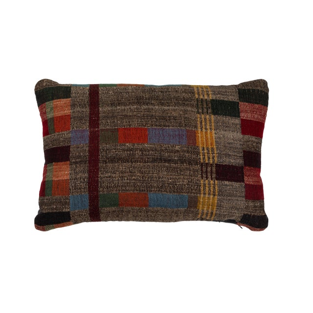 Indian Handwoven Pillow in Japanese Stripe Design For Sale In Los Angeles - Image 6 of 6