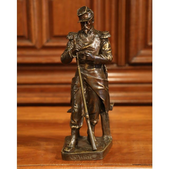"""19th Century French Patinated Bronze Sculpture """"La Halte"""" Signed L. Mennessier For Sale - Image 4 of 10"""