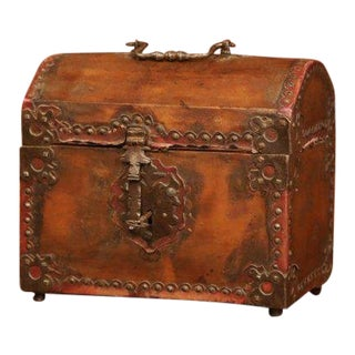 Late 18th Century French Louis XIII Wood and Leather Decorative Box Trunk Safe For Sale