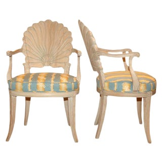1930s André Groult Carved Shell Armchairs - a Pair