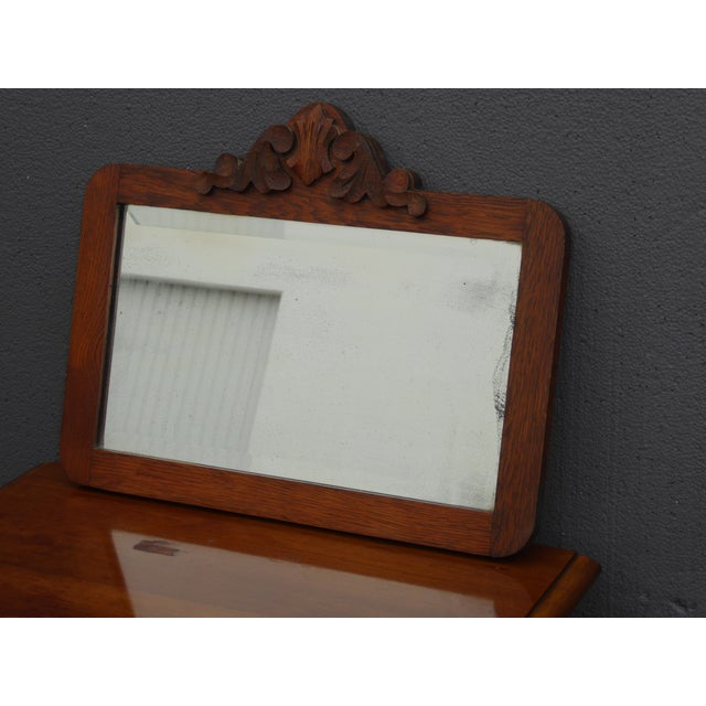 Federal Antique Mid-Century Modern Federal Rustic Beveled Edge W Aged Silver Wall Mirror For Sale - Image 3 of 13