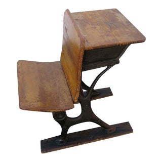 Early 1900s Child School Writing Desk Table With Folding Chair Bench 1215 For Sale