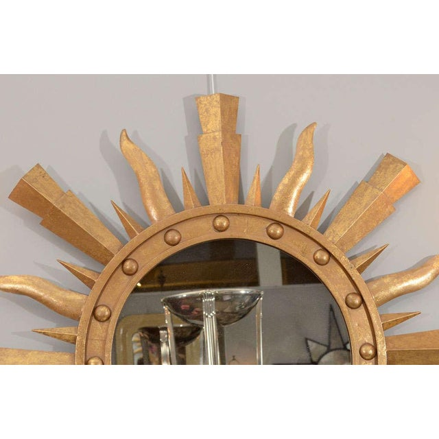 1980s 1980s Gilt Metal Sunburst Mirror For Sale - Image 5 of 7