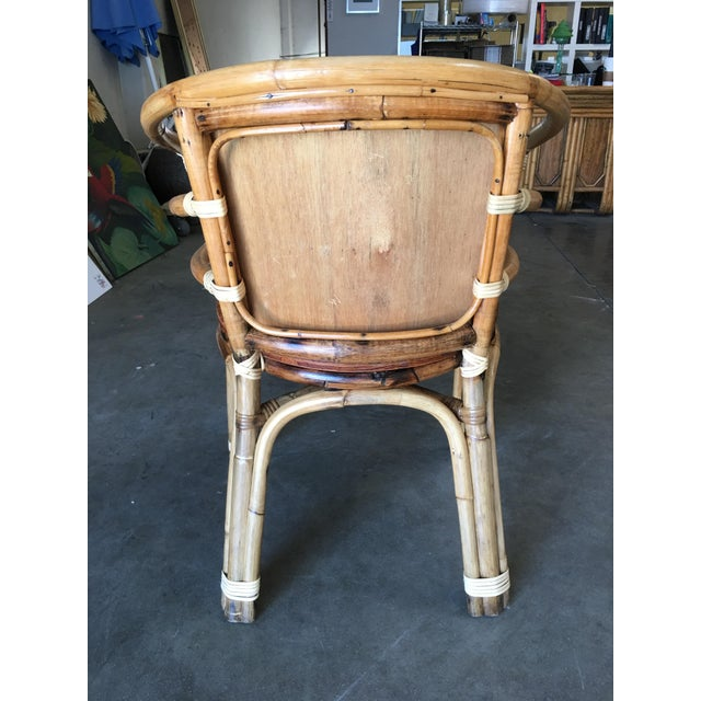 1950s Mid-Century Rattan Barrel Back Armchair W/ Skeleton Arms For Sale - Image 5 of 8
