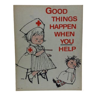 "1950 Vintage ""Good Things Happen When You Help"" Red Cross Sign For Sale"