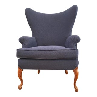 Vintage Indigo Denim Upholstered Wingback Lacey Chair For Sale