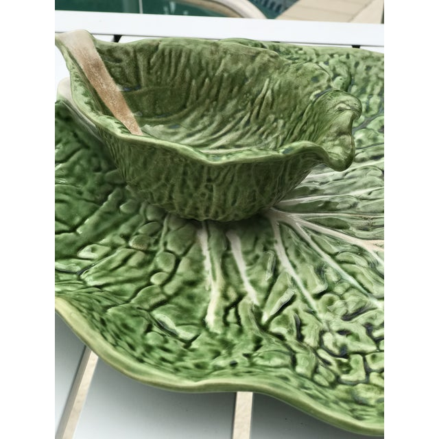 Late 20th Century Portugal Cabbage Ware Serving Platter For Sale - Image 5 of 11